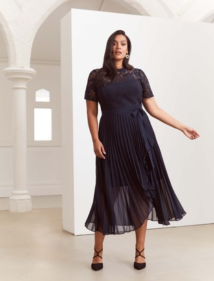 Forever New Saskia Curve Two-in-One Pleated Dress - Navy - 16