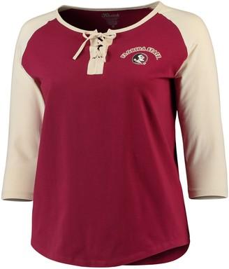 Unbranded Women's Garnet/Gold Florida State Seminoles Plus Size Lace-Up 3/4-Sleeve Raglan T-Shirt