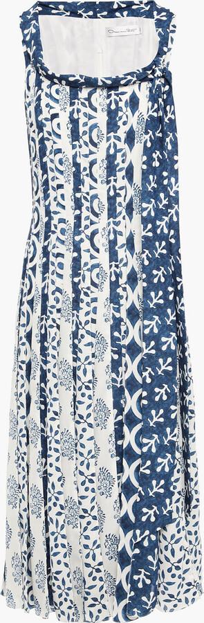 Oscar de la Renta Pleated Printed Crepe De Chine Midi Dress