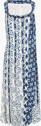Oscar de la Renta Pleated Printed Crepe De Chine Midi Dress