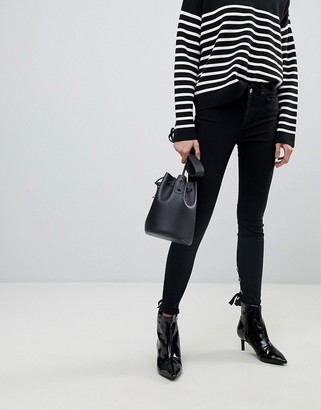 Pieces Skinny Jeans With Lace Up Back Detail-Black
