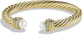 David Yurman Pearl Crossover Bracelet with Pearls and Diamonds in Gold