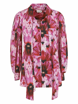 Alexander McQueen Floral Print Scarfed Front Detail Blouse