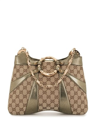 Gucci Pre-Owned Metallic Bamboo Detail Monogram Shoulder Bag
