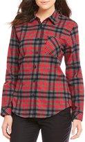 Pendleton Red Plaid Cotton Flannel Boyfriend Shirt