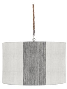 Imagine Home 4 - Light Single Drum Pendant with Rope Accents Shade Color: Gray Pinstripe