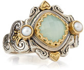 Konstantino Sea Blue Agate & Pearl Ring, Size 7