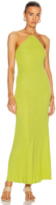 Enza Costa for FWRD Silk Rib Halter Fitted Ankle Dress in Lime | FWRD