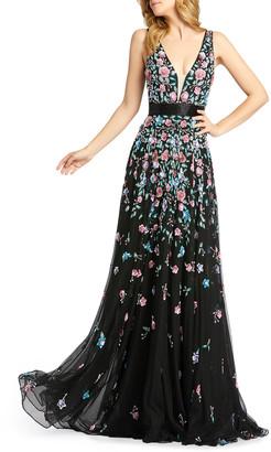 Mac Duggal 3D Sequin Applique Floral V-Neck Sleeveless Gown