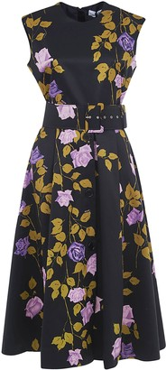 MSGM Floral Print Sleeveless Belted Dress