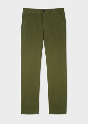 Men's Tapered-Fit Green Stretch Pima-Cotton Chinos