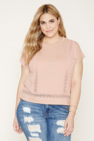 Forever 21 Plus Size Crochet-Panel Top