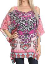 Sakkas P19 - Anya Printed Draped Short Sleeve Strap Cutout Shoulder V-Neck Kaftan Top - OS