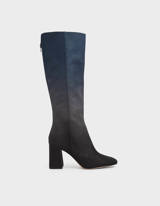 Multicoloured Felt Knee High Boots