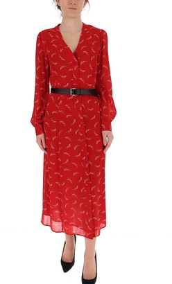 MICHAEL Michael Kors Logo Print Belted Midi Dress