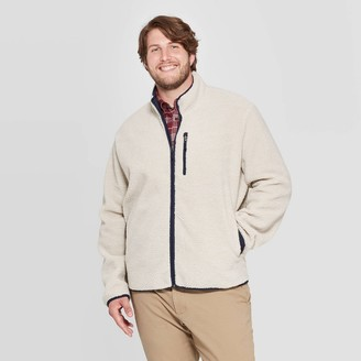 Men's Big & Tall Sherpa Mock Neck Fashion Jacket - Goodfellow & CoTM Cream