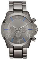 Mossimo Men's Black® Roman Numeral Dial with Blue Accents Bracelet Watch - Gun/Blue