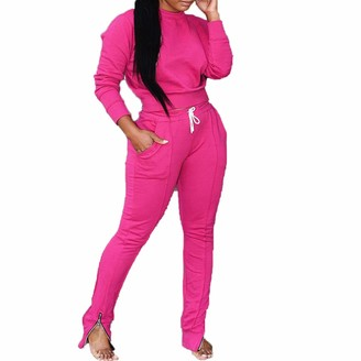 Suanret Women Long Sleeve Loungewear Tracksuit 2 Piece Outfits Solid Color Top and Jogger Set Autumn Winter Clothes Crew Neck Sweatshirt Sets (M