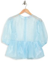 Thumbnail for your product : Topshop Dobby Dot Organza Puff Sleeve Sheer Blouse