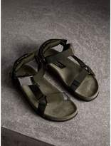 Burberry Three-point Strap Ripstop Sandals , Size: 40.5, Green