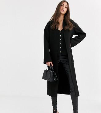 Fashion Union Tall longline wool coat with belt-Black