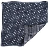Black Navy and Ivory Double Faced Linen and Cotton Pocket Square