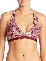 Carmen Marc Valvo Women's Ornamental Floral Strappy Bikini Top