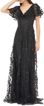 Carmen Marc Valvo Flutter-Sleeve Ruffle-Neck Gown w/ 3D Embellishments