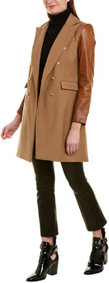 Generation Love Lion Wool-Blend Leather-Trim Coat