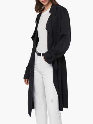 AllSaints Ria Trench Coat, Ink/Blue