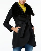 Rachel Roy Faux-Fur-Collar Belted Walker Coat, Only at Macy's