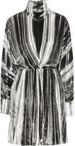 J.W.Anderson Striped devoré-velvet turtleneck dress