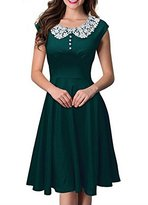 COSIVIA Women's 1950s O-Sleeve Colorful Cocktail Vintage Evening Wedding Dresses (L, )