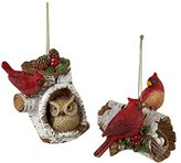 Kurt Adler Resin Birch Cardinal ON Log Ornament Set OF 2
