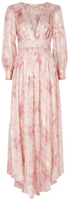 LoveShackFancy Cyrene floral-print lame-weave maxi dress