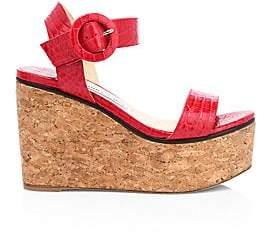 Jimmy Choo Women's Abigail Croc-Embossed Leather Cork Wedge Sandals