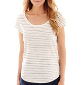 Liz Claiborne Short-Sleeve Striped T-Shirt - Petite