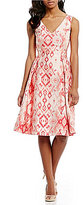 Adrianna Papell Aztec Printed Jacquard Fit & Flare T-Length Dress