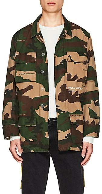 Off-White Men's Camouflage Cotton Field Jacket - Beige, Tan