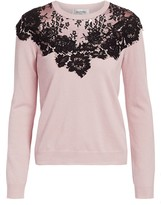 Valentino Chantilly Lace Inset Wool & Silk Knit Sweater