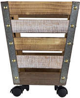 Asstd National Brand American Art Decor Rustic Wooden Metal Storage Bin Crate with Wheels