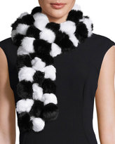 Adrienne Landau Rabbit Fur Pompom Scarf, Black/White