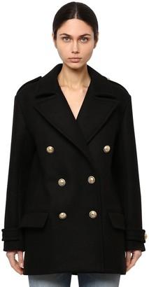 Balmain Double Breasted Wool Pea Coat