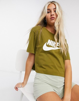 Nike cropped futura t-shirt in olive