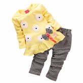 Orangeskycn Kids Girls Long Sleeve Flower Bow Shirt Plaid Pant Set Clothing (2-3Y, )