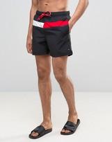 Tommy Hilfiger Large Flag Swim Shorts In Black
