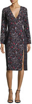 J. Mendel Mixed-Print Long-Sleeve Dress, Black/Blue