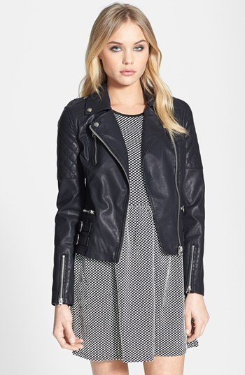 Topshop 'Wylde' Faux Leather Biker Jacket