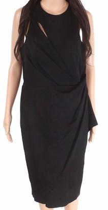 Vera Wang Women's Sleeveless Stretch Cocktail Dress with Side Ruffle