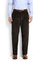 Lands' End Men's Comfort Waist Pleat Front 10-wale Corduroy Dress Trousers-Mid Gray Glen Plaid
